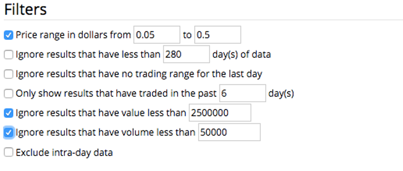 Stock Market Scan Filters